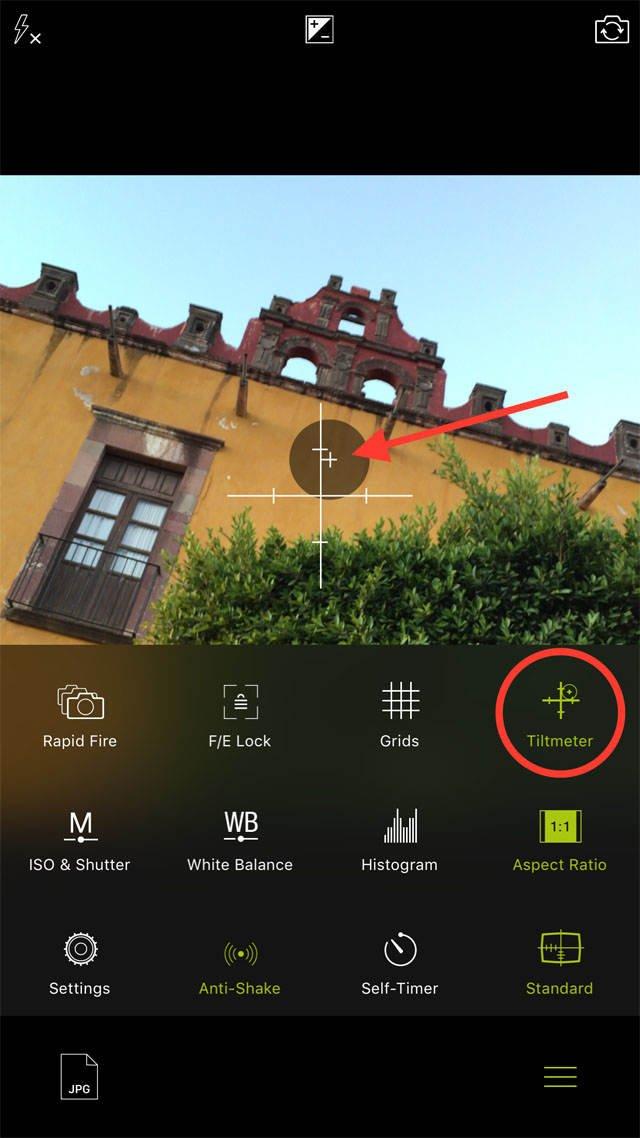 Procamera app tiltmeter no script