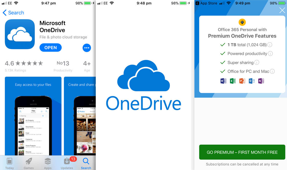 Photo storage app onedrive 1 no script