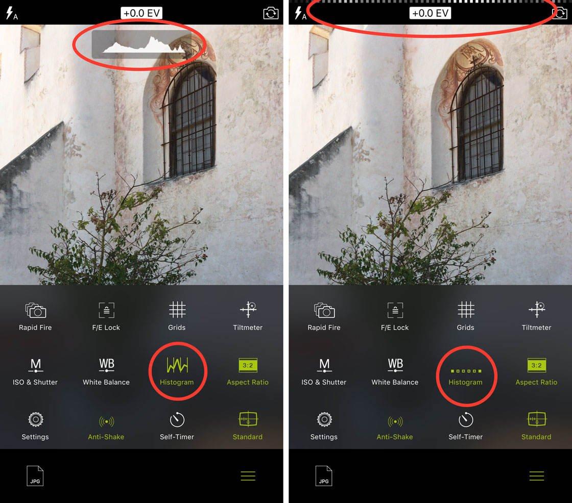 Procamera app histogram no script