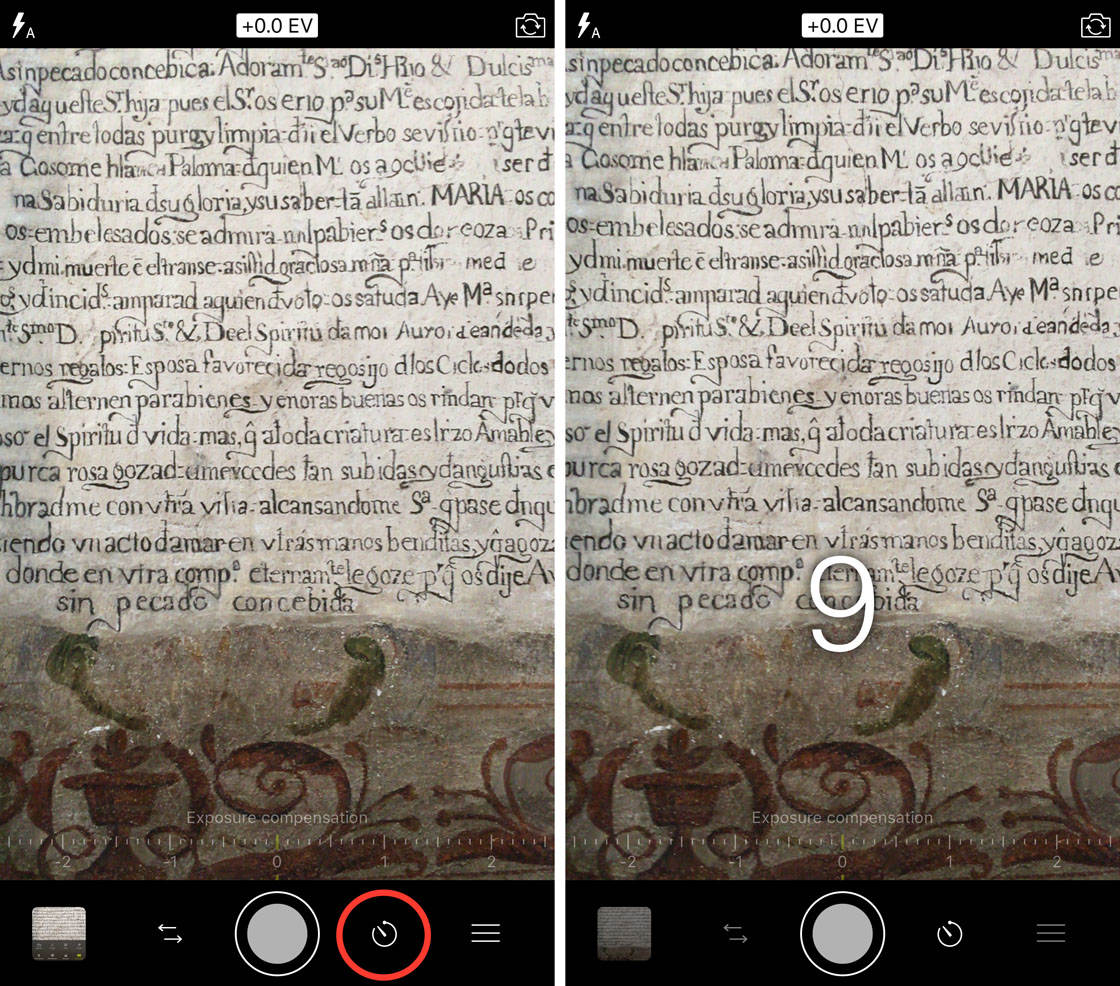 Procamera app self timer no script