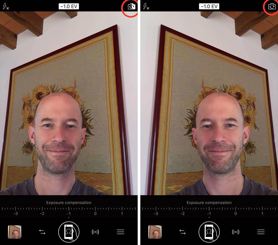 Procamera app selfie mode no script