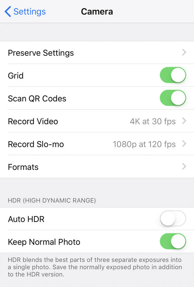 HDR iPhone Settings no script